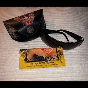 Ed Hardy by Christian Audigier Black Sunglasses